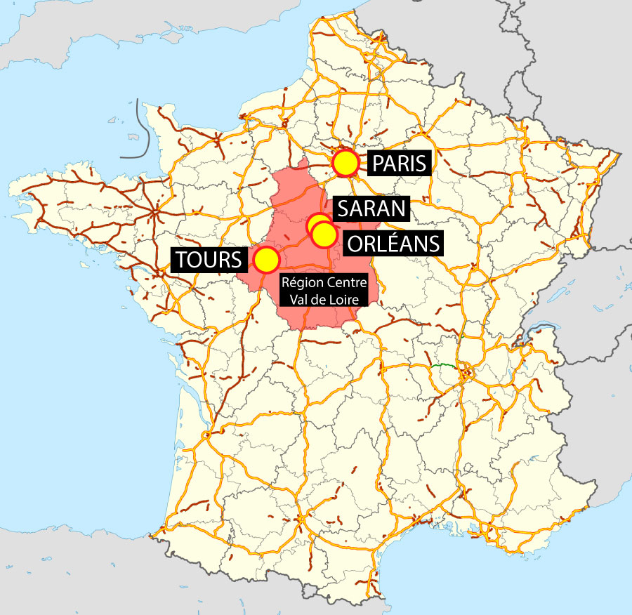 Plan de situation de Saran sur une carte de France